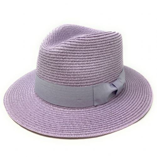Straw Fedora Summer Hat - Lavender Purple